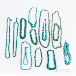 Fourteen Southwest Turquoise Necklaces