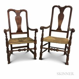 Two Queen Anne-style Carved Maple Spanish-foot Armchairs
