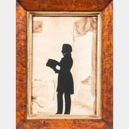 August Edouart (France/America, 1789-1861)      Silhouette of Attorney Frances Marbury of New York in His Office