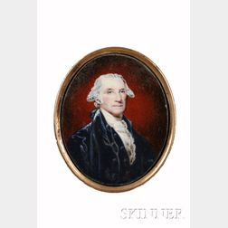 William Russell Birch (American, 1755-1834), after Gilbert Stuart (American, 1755-18      28) Portrait Miniature of George Washington.