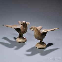 Pair of Painted Cast Iron Dove Figures