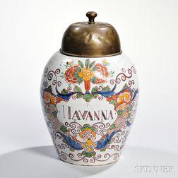 Polychrome-decorated Delft Snuff Jar