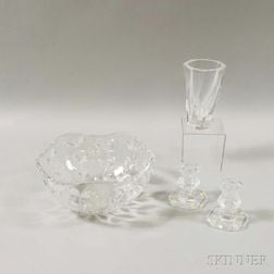Four Pieces of Mid-century Crystal Tableware
