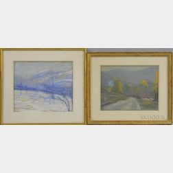 American School, 20th Century      Two Pastels: Winter Orchards and Mountains