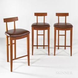 Three High-legged Geoffrey Warner Cherry Chairs