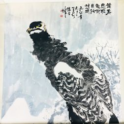 Hanging Scroll Depicting a Hawk in the Snow