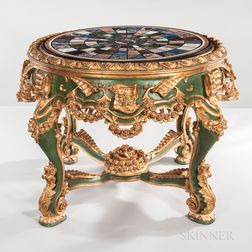 Empire-style Polychrome-painted Center Table with Specimen Marble Top