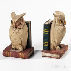Pair of Carved and Painted Owl Bookends