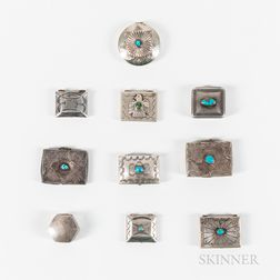 Ten Small Navajo Silver Boxes
