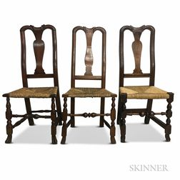 Three Queen Anne Turned Maple Side Chairs