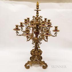 Neoclassical-style Gilt Brass and Ceramic Fourteen-light Candelabra