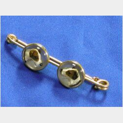 Antique 18kt Gold and Reverse-Painted Crystal Stock Pin