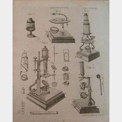 Four Engraved Microscopy Book Plates