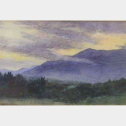 Gilt Oak Framed Watercolor of a New England Mountain Landscape