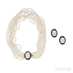 14kt Gold, Mabe Pearl, and Onyx Necklace and Earclips, retailed by Gump's