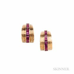 14kt Gold and Ruby Earclips