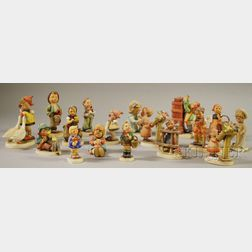 Seventeen Assorted Hummel and Goebel Ceramic Figures and Figural Groups