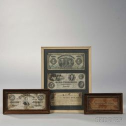 Five Framed Pieces of U.S. and Canadian Currency
