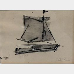 Attributed to Lyonel Feininger (American, 1871-1956)      Catboat