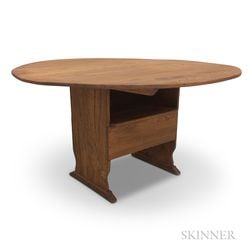 Country-style Chestnut Shoe-foot Chair Table