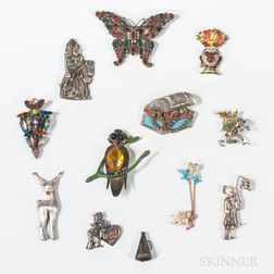 Twelve Costume Figural Brooches