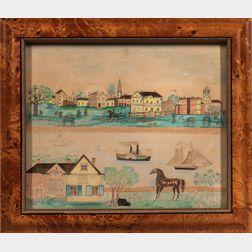 Watercolor on Paper Village Scene