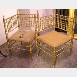 Pair of Heywood Wakefield Caned Giltwood Bamboo-turned Corner Chairs.