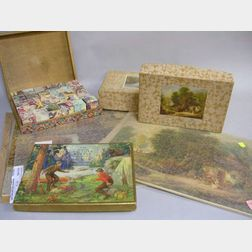 Three Lithographed Wooden Jigsaw Puzzles and a Set of Lithographed Puzzle Blocks