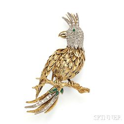 14kt Gold, Emerald, and Diamond Brooch