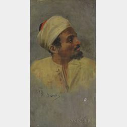 Spanish School, 19th/20th Century      Head of an Arab Man