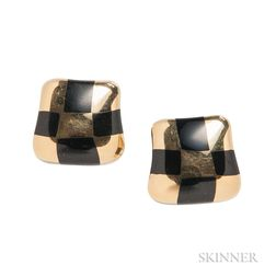 "18kt Gold and Black Jade ""Curved Check"" Earrings, Angela Cummings"