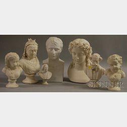 Seven Parian Porcelain Busts