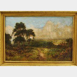 Daniel Sherrin (British, 1868-1940)      Landscape with Path and Figures, Surrey.