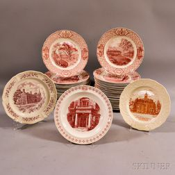"Approximately Forty-six Royal Cauldon Red Transfer-decorated ""Phillips Exeter Academy"" Dinner Plates.     Estimate $250-350"