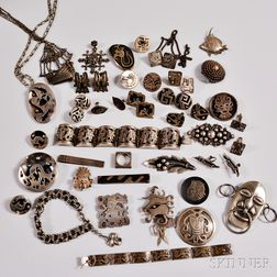 Group of Mexican Silver and Costume Jewelry