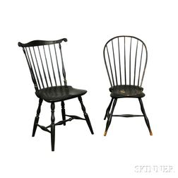 Black-painted Bow-back and Green-painted Fan-back Windsor Side Chairs