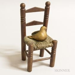 Bronze Slat-back Side Chair with a Bird