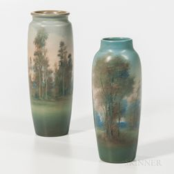 Two Ed Diers for Rookwood Pottery Vellum Vases