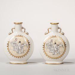 Pair of Minton Porcelain Moon Flasks