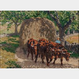 Edward Charles Volkert (American, 1871-1935)      Oxen and Wagon on a Sun-dappled Path
