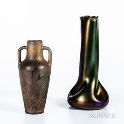 Austrian Heliosine Ware Ceramic Vase and a Cannes Thistle Vase