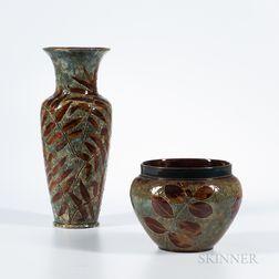 Doulton Lambeth Stoneware Bowl and Vase