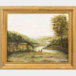 American School, 19th Century       Landscape River Scene with a Family