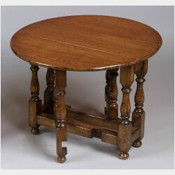 William and Mary Style Miniature Oak Drop-Leaf Table