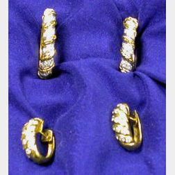 Two Pairs of 18kt Gold and Diamond Earrings