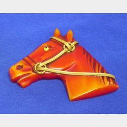 Bakelite Horse Head Brooch
