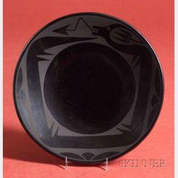Southwest Black-on-Black Pottery Plate
