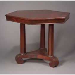 Classical Hexagonal Mahogany and Mahogany Veneer Center Table.