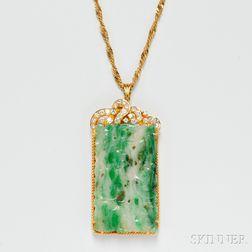 18kt Gold, Jade, and Diamond Pendant