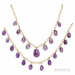 Two Gold and Amethyst Necklaces